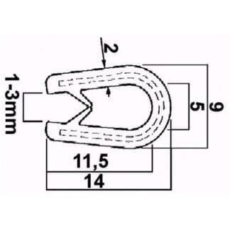 Kantlist 3 x 11 mm, svart