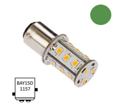 LED för lanterna NauticLED BAY15D Tower grön 10-35V 2,4W