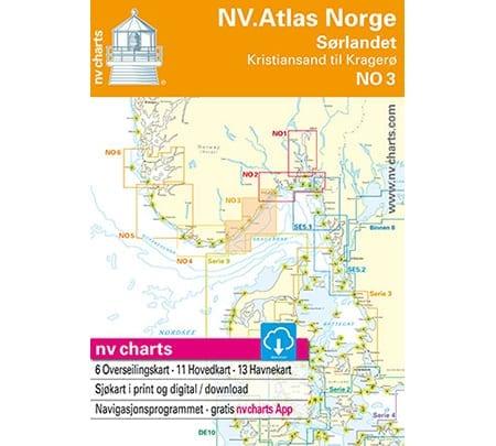 NV. Verlag båtsportkort Atlas serie NO3 utgåva 2018