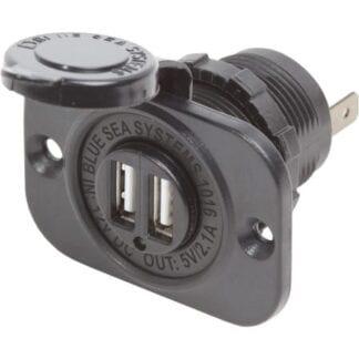 Dubbelt USB uttag (svart) 5V 2,1A BlueSea