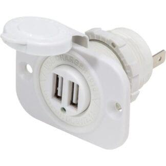 Dubbelt USB uttag (vit) 5V 2,1A BlueSea