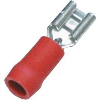 Flatstiftshylsa röd 6,3 mm 10-pack (kabelarea 0,75 - 1,5 mm²)