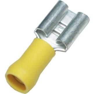 Flatstiftshylsa gul 6,3 mm 10-pack (kabelarea 4,0 - 6,0 mm²)