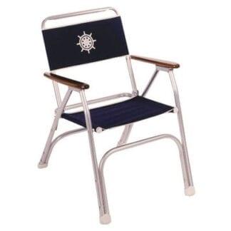 Däcksstol elegant med armstöd i trä, marinblå tygsits