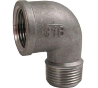 Rörvinkel rostfri 90° invändig/utvändig gänga
