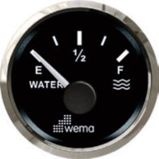 Vattentanksmätare Wema Silverline med svart urtavla NMEA 2000