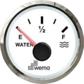 Vattentanksmätare Wema Silverline med vit urtavla NMEA 2000